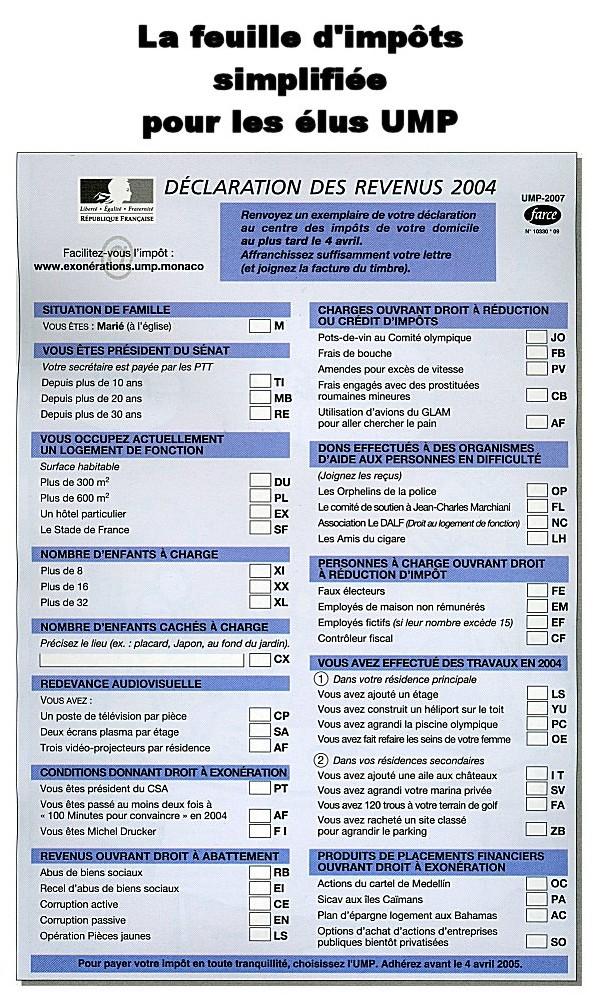 La feuille d'impôt de l'UMP