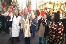 Manifestation en pyjama devant la permanence de l'UMP à Montpellier