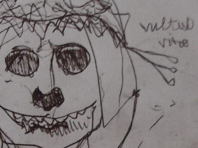 Dessin de Victor Hugo : tête de mort sous son voile