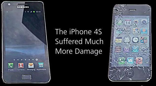 Crash test : Iphone 4S Vs Galaxy S2