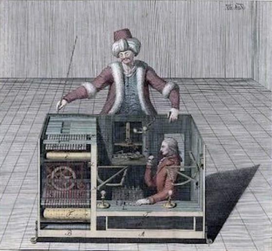 Le Turc mécanique, gravure de Karl Gottlieb von Windisch dans le livre de 1783, « Raison inanimée » - source : WikiCommons