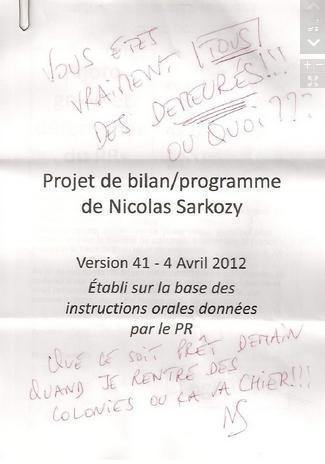 Scoop : le projet de gouvernement de Sarkozy, annoté par lui même !