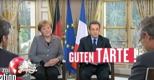 En allemand Guten Tag (qui peut se prononcer Guten Tar) veut dire Bonjour. Admirez  la gêne de Dame Merkel. Das ist klar : Sarkozy a aussi des problèmes d'audition.