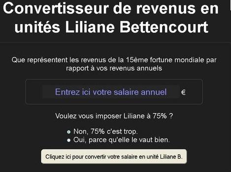 Convertisseur de revenus en unités Liliane Bettencourt