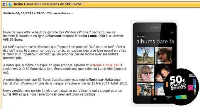 Le dernier Nokia Lumia 900 sans abonnement à moins de 500 euros !