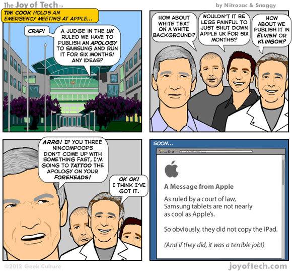 Apple, condamnée à des excuses publiques envers Samsung