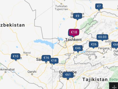Les prix des hôtels à Tashkent, par Google