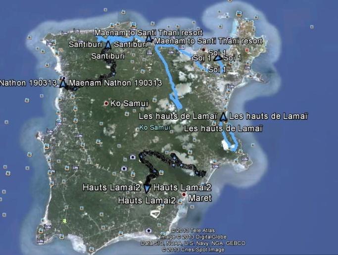 Les randonnées effectuées sont en bleu et en noir