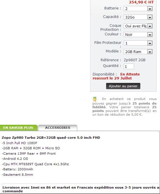 Zopo ZP980 Turbo à moins de 250 € !