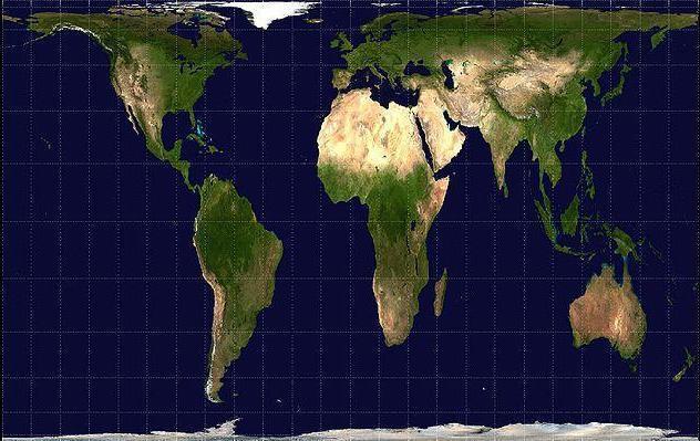 La projection de Peters, qui contrairement à celle de Mercator, tente de tenir compte de la taille réelle des continents