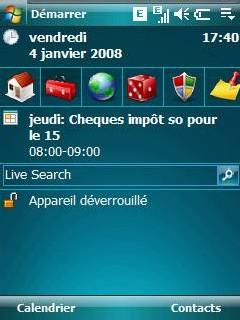 Photo d'écran de mon Htc Touch avec Ilauncher