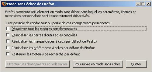 Firefox : Le Safe mode