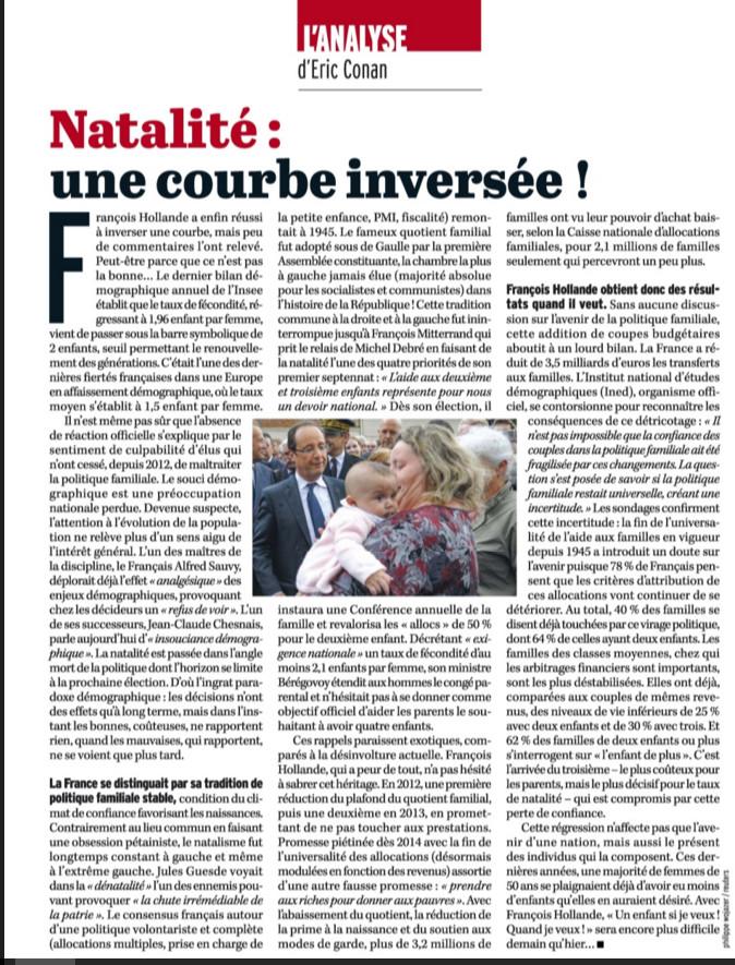 Hollande a inversé une courbe, mais c'est celle de la natalité !