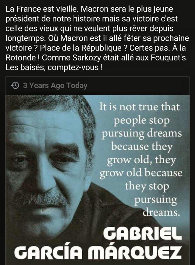 Il n'est pas vrai que les gens ne suivent plus leurs rêves parce qu'il deviennent vieux, ils deviennent vieux parce qu'ils ne suivent plus leurs rêves.