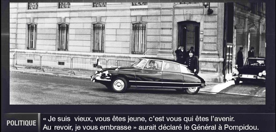 De Gaulle partant pour Baden Baden. Les Insoumis n'ont pas eu droit au petit mot gentil...