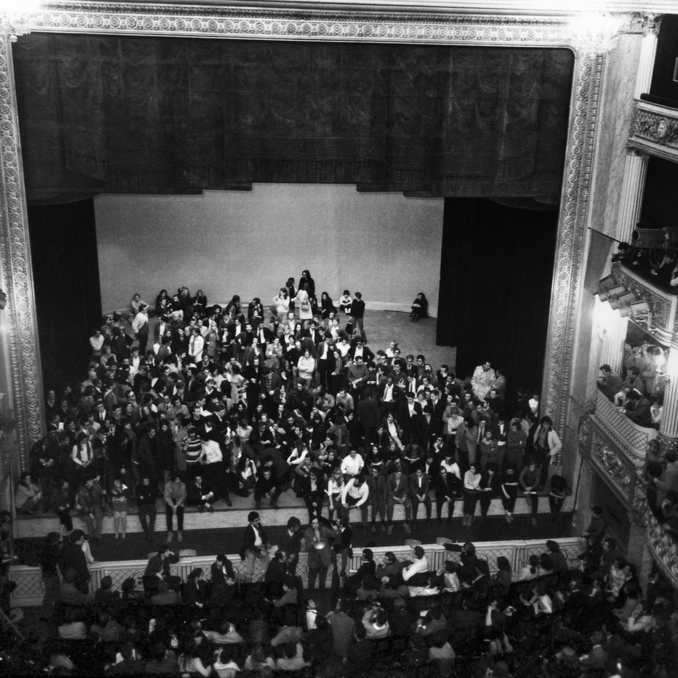 Photo d'archives de l'occupation du théâtre de l'Odéon, le 17 mai 1968. Photo AFP