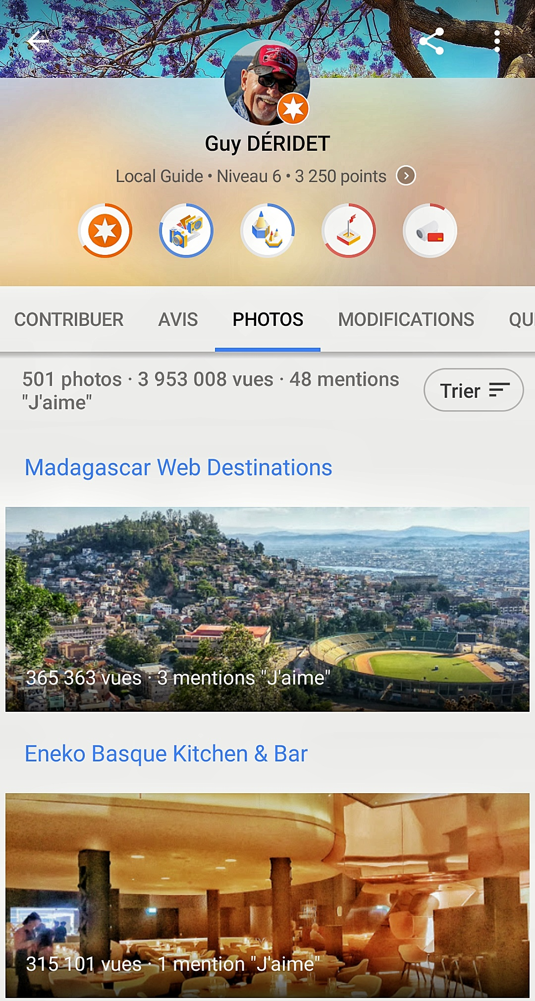 Mes contributions à Google Maps, le 12/01/19
