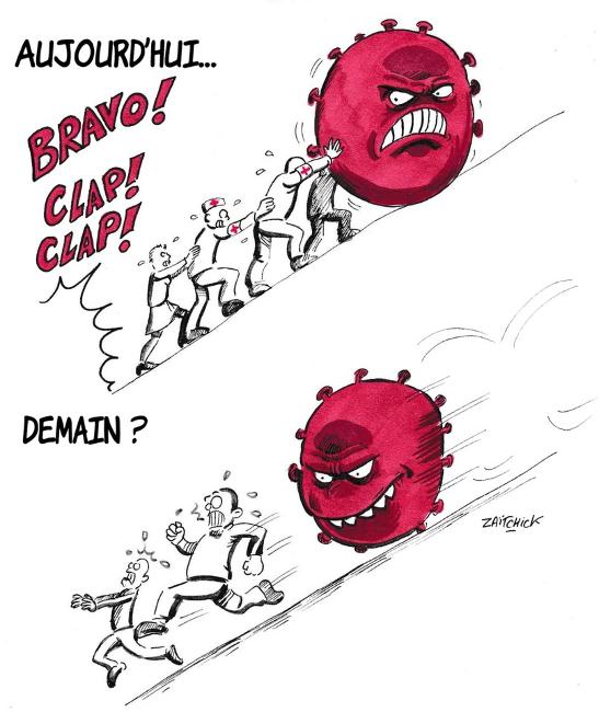 La propagation du virus, par Élodie poux