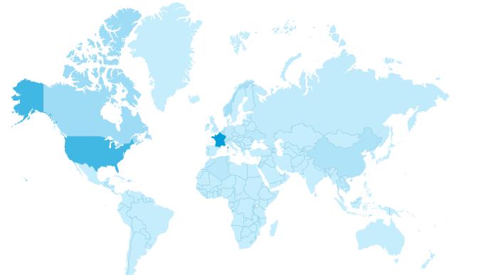 Les parties en bleu foncé représentent la fréquentation