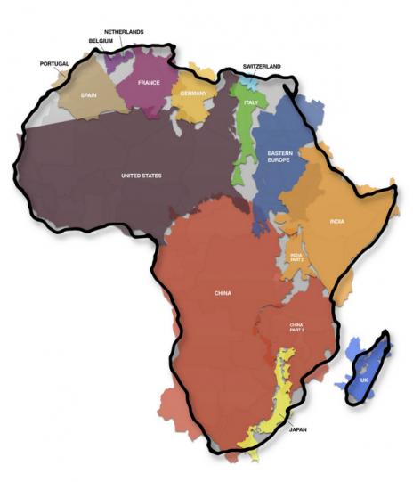 La superficie de l'Afrique englobe la Chine, les Etats-Unis, une bonne partie de l'Europe..
