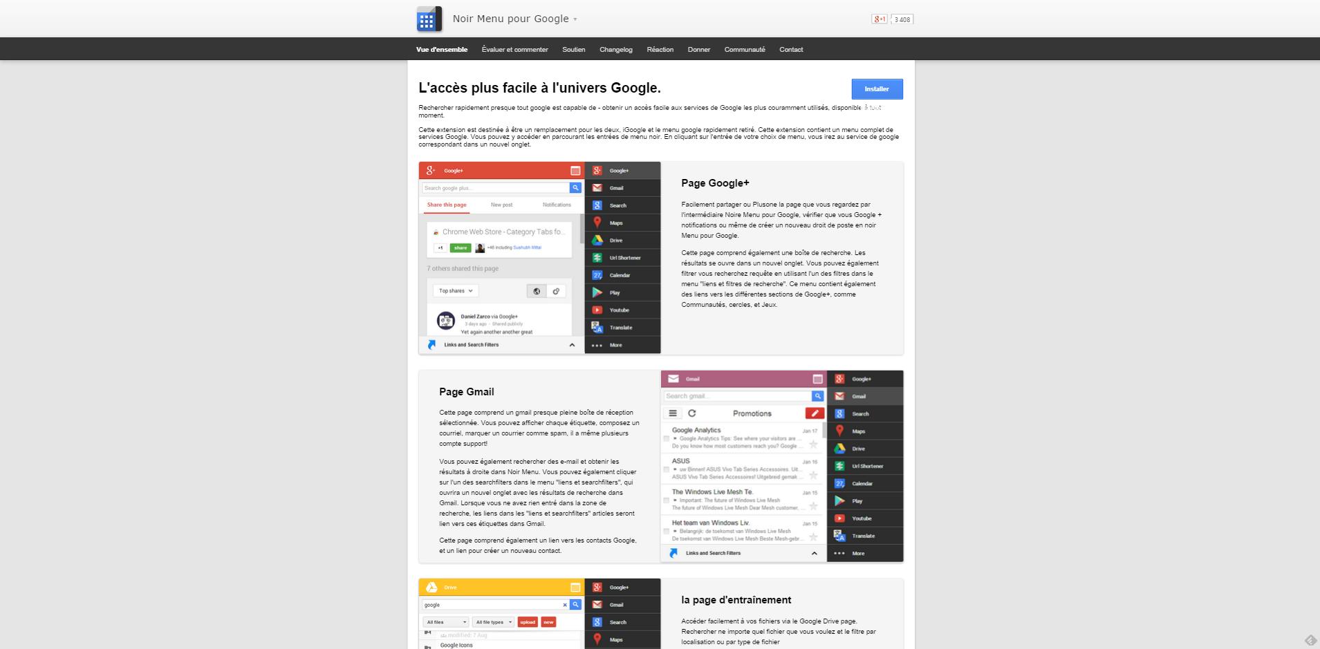 Une superbe extension Chrome : Black Menu !