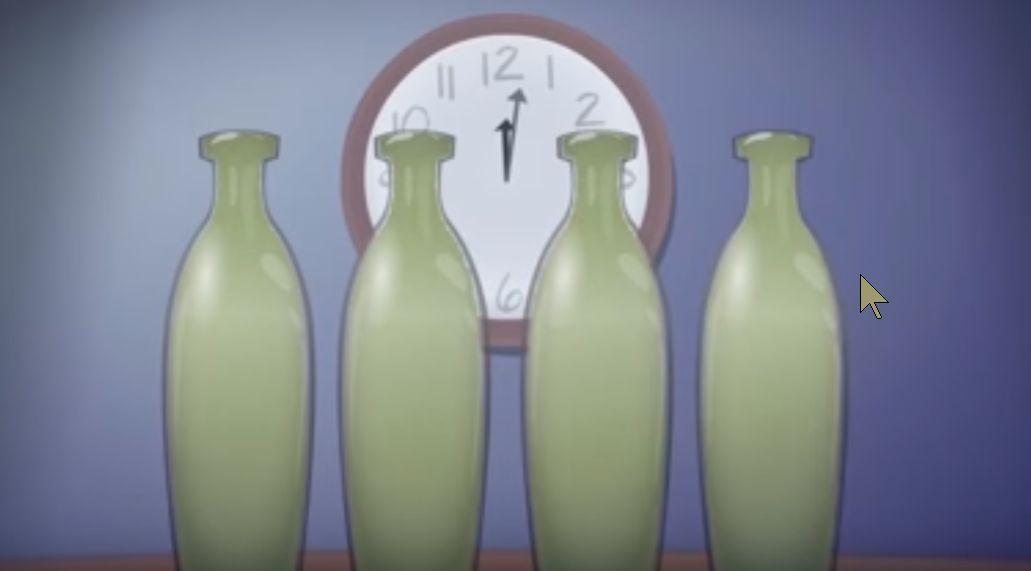A 11 h il y a une bactérie. A 12h02 toutes les bouteilles sont pleines.
